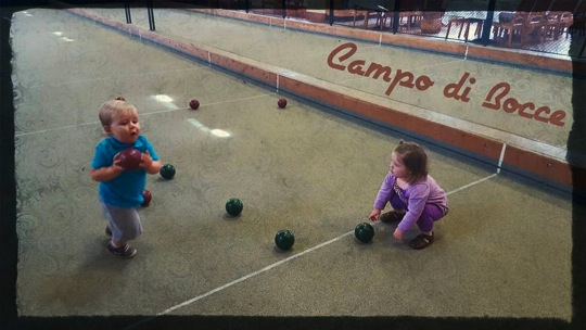 Campo Di Bocce Fundraiser May 2015, Babies playing bocce