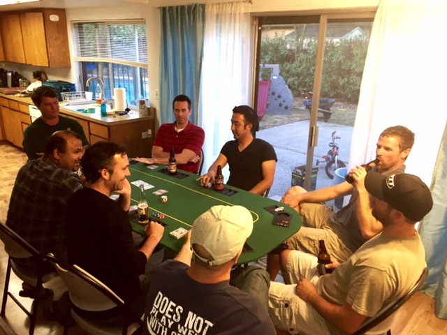 Dad's Night Out June 2015, Men around the poker table